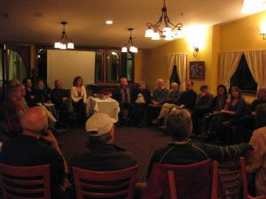 """February 25th Movie Night at the French Garden Restaurant: Discussion time after viewing """"The Power of Community"""""""